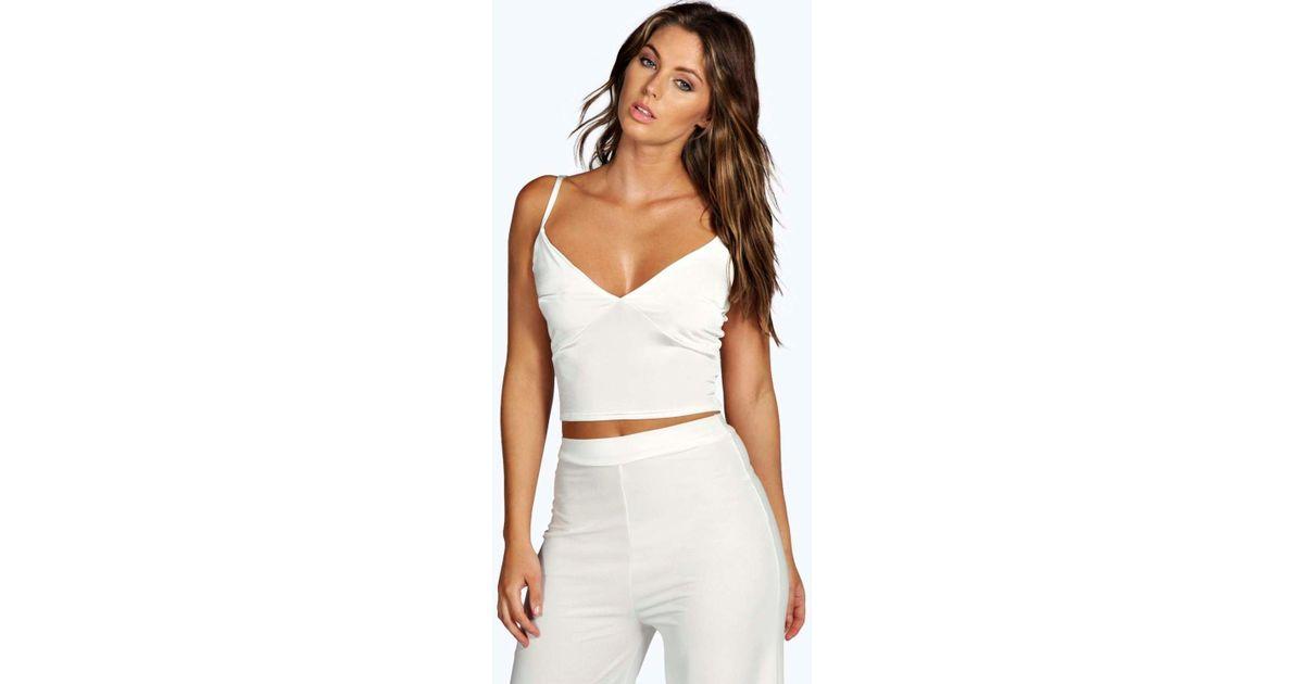 2607bb302674cb Lyst - Boohoo Leona Slinky Crop Bralet in White