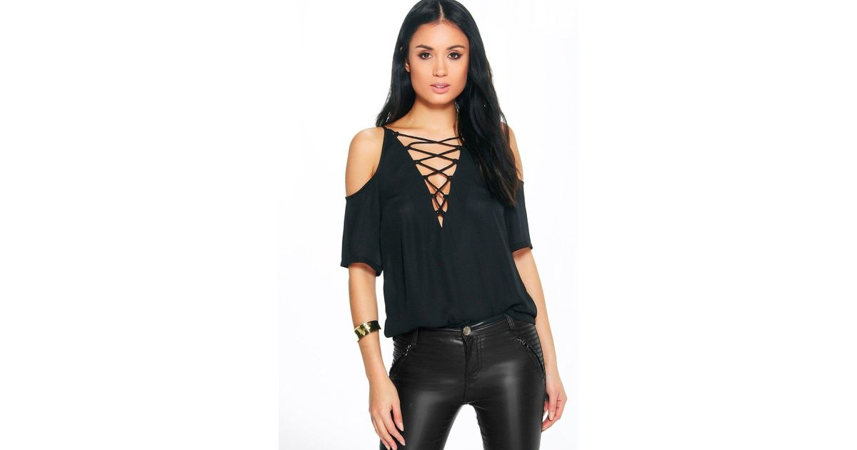 Lyst - Boohoo Esme Lace Up Open Shoulder Blouse in Black 9243681a9