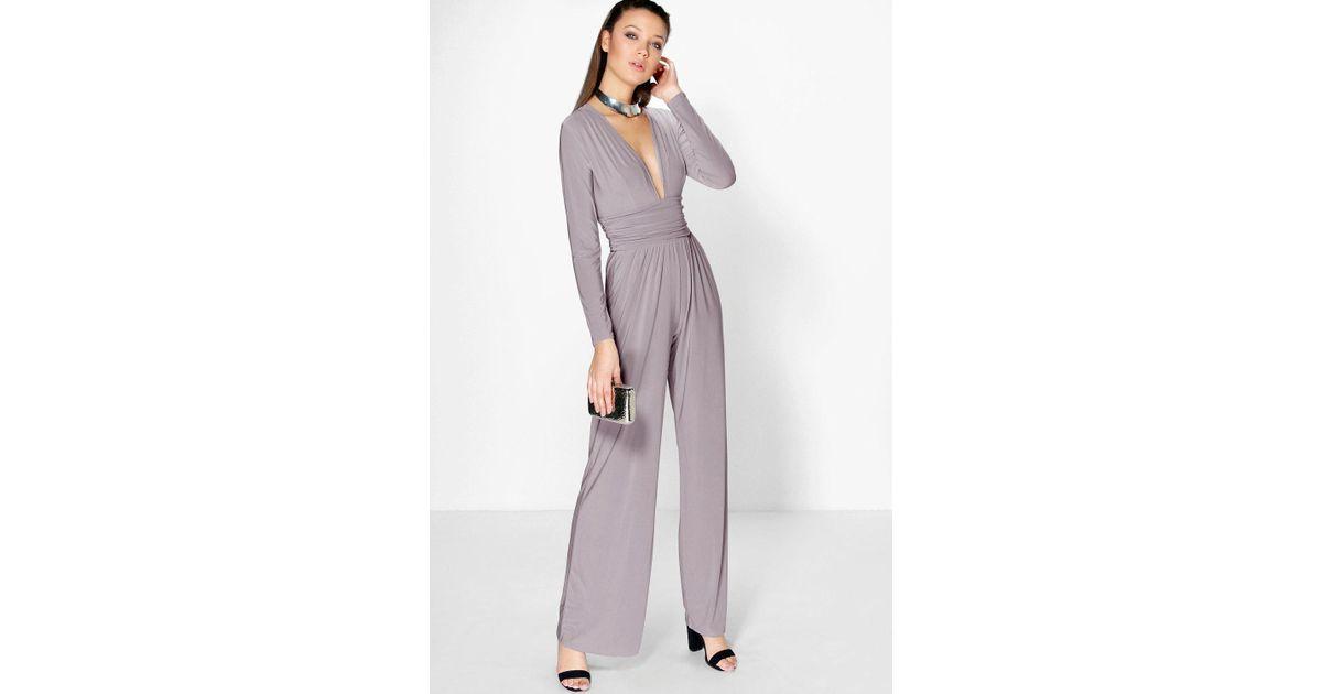 021e4f74777 Lyst - Boohoo Tall Elsa Plunge Slinky Wide Leg Jumpsuit in Gray