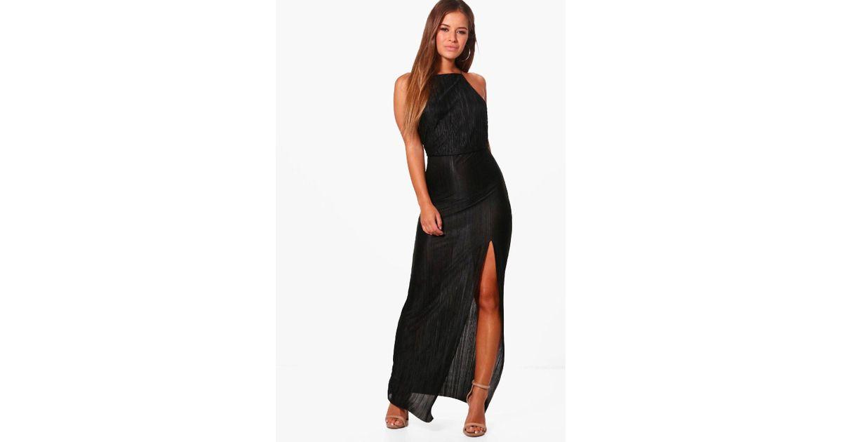 Boohoo Petite Pleated Thigh Split Maxi Dress In Black Lyst