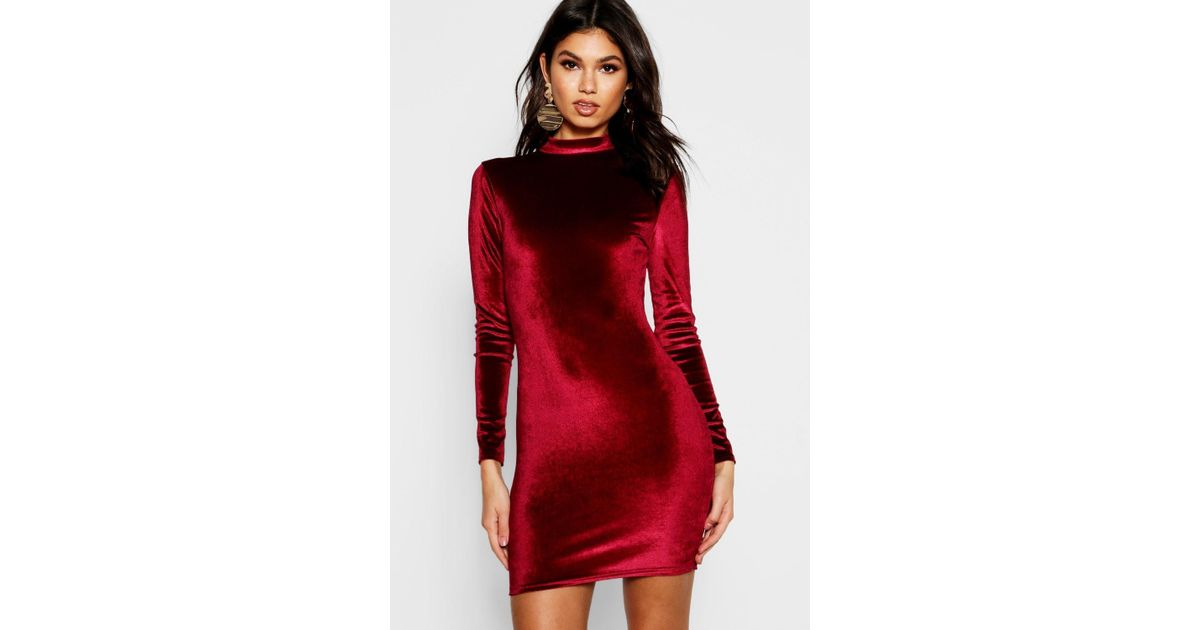 ef8c0626aa2d Lyst - Boohoo Velvet High Neck Long Sleeve Bodycon Dress in Red