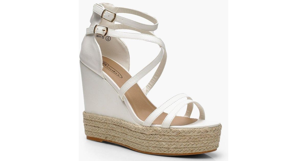 af0d0e133ca Boohoo - White Strappy Espadrille Wedges - Lyst