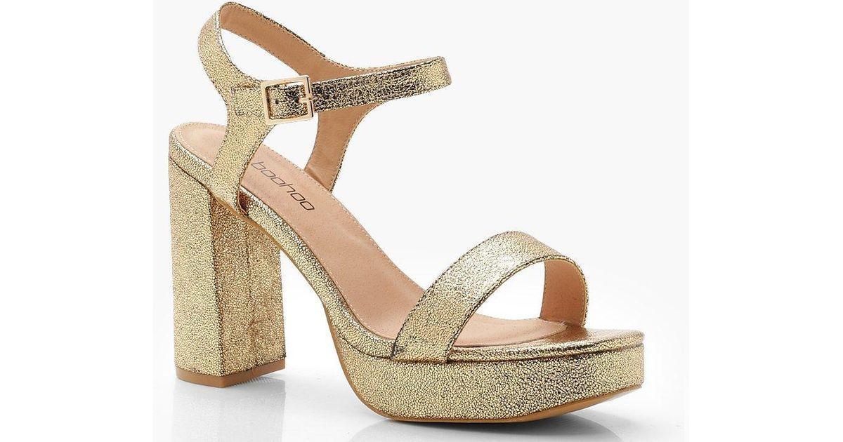 31511aec46d9 Boohoo Extra Wide Fit Metallic Platform Heels in Metallic - Save 25% - Lyst