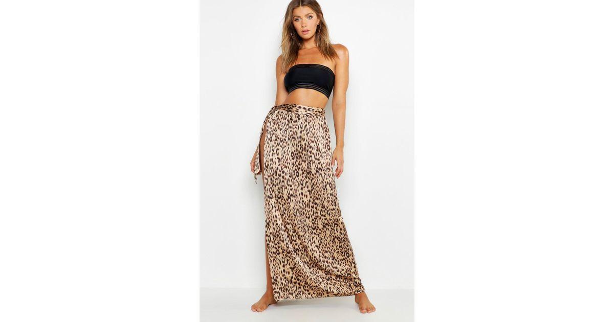 dbd4cb9414 Boohoo Animal Print Maxi Tie Beach Skirt in Brown - Lyst