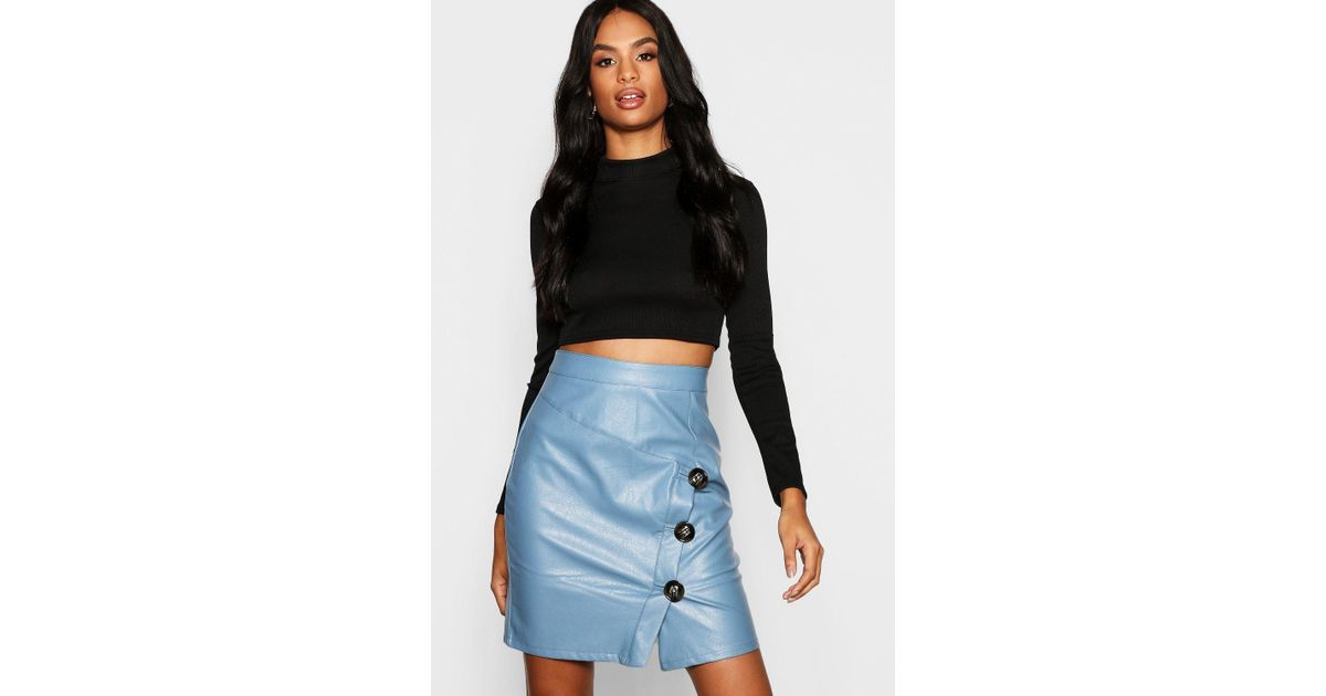 4871009959 Boohoo Tall Mock Horn Button Faux Leather Mini Skirt in Blue - Lyst