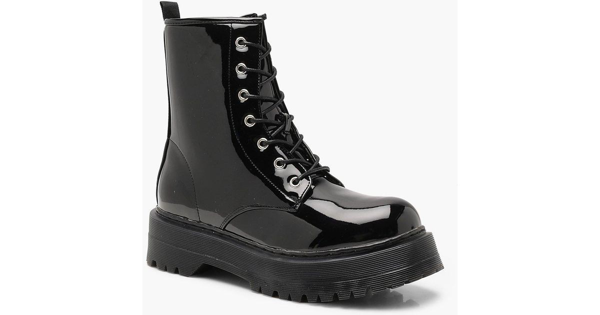 d78d5e76ca Lyst - Boohoo Chunky Lace Up Hiker Boots in Black