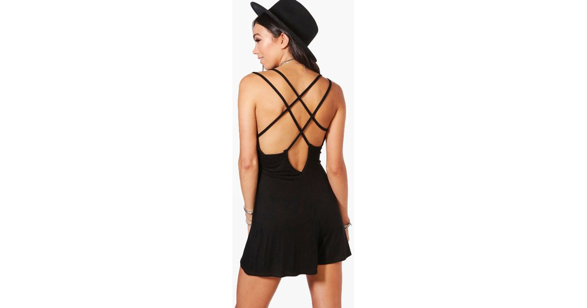 d1173db236 Boohoo Strappy Back Swing Playsuit in Black - Lyst