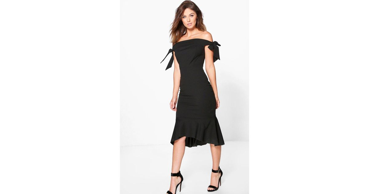 84e1b2ebdbd4 Boohoo Aly Tie Sleeve Off Shoulder Peplum Midi Dress in Black - Lyst