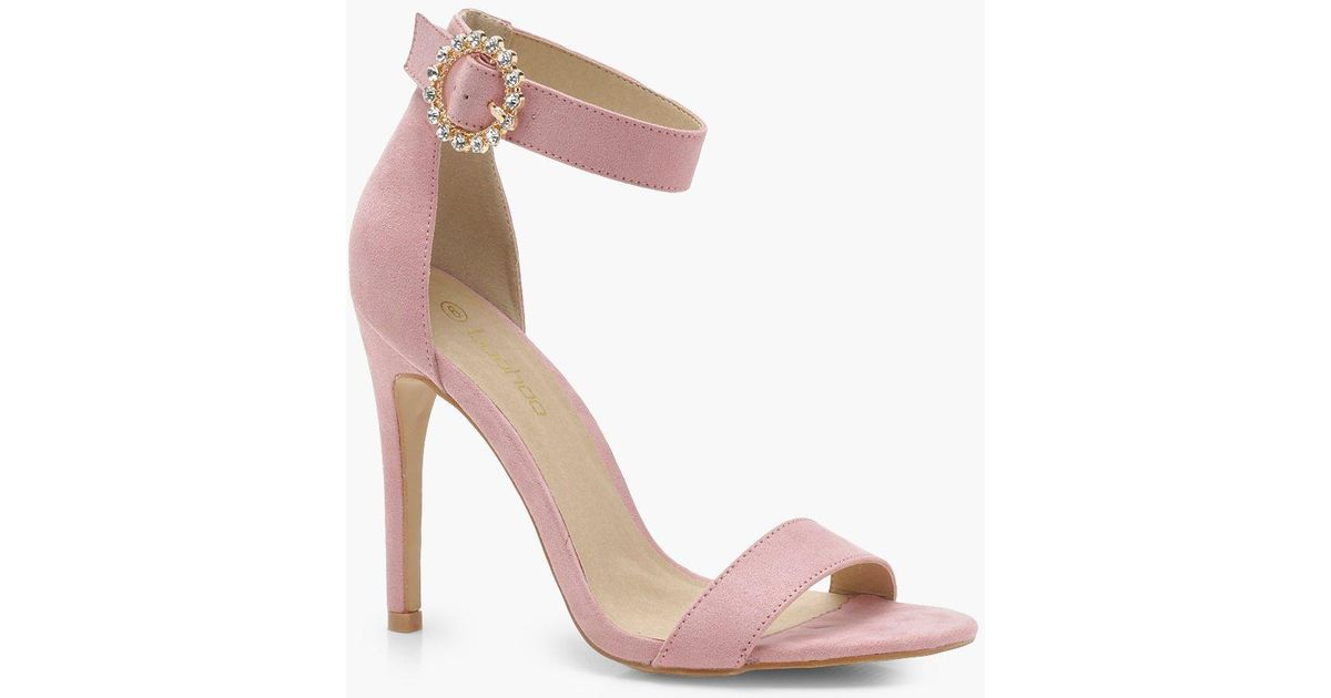 Lily Bow Back 2 Part Heels boohoo rosa