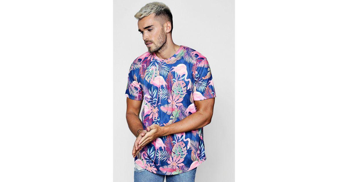 73378cdb274 Boohoo Flamingo   Leaf Print Longline Curve Hem T-shirt in Blue for Men -  Lyst