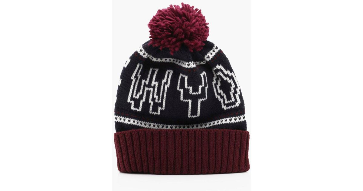 Lyst - Boohoo New York Knitted Beanie Hat in Red for Men 72b997e17