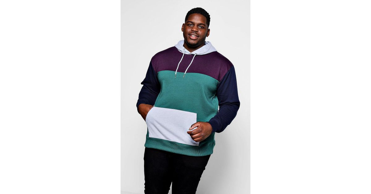 bfd5b5529856 Boohoo Big And Tall Panelled Colour Block Hoodie in Green for Men - Lyst