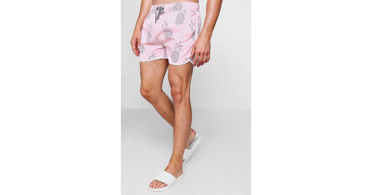 cbb66f02e6fce Boohoo Pineapple Print Runner Swim Short in Pink for Men - Lyst