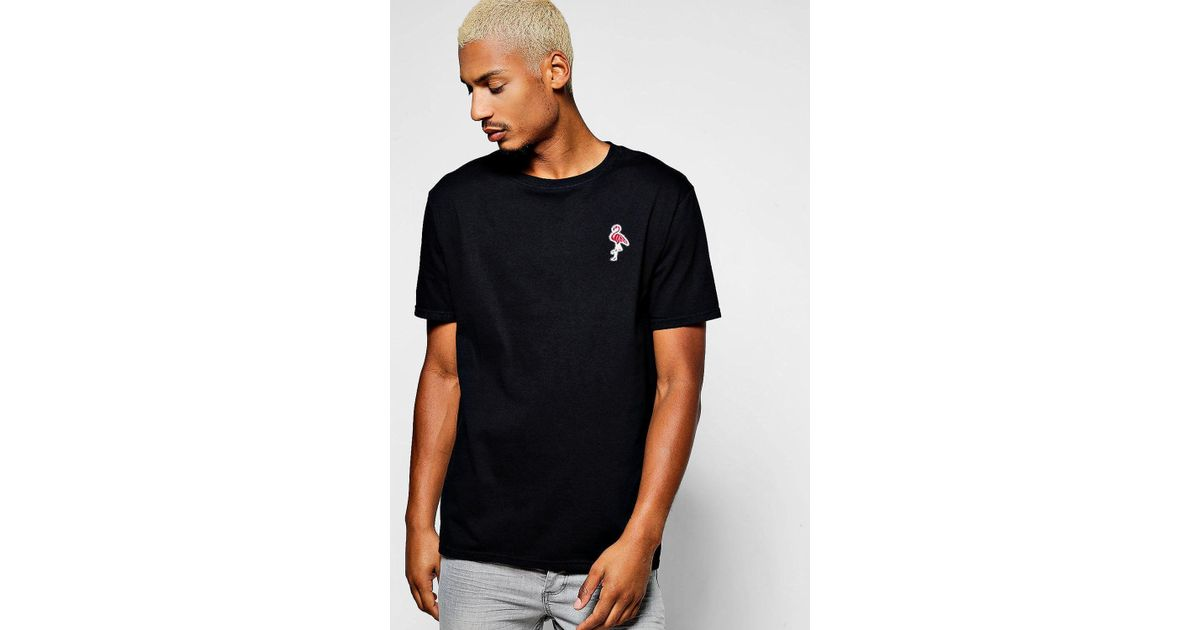 7c56190ff91 Lyst - Boohoo Flamingo Embroidered T-shirt in Black for Men