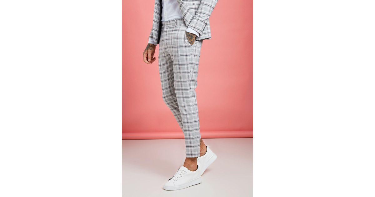 ad3953f95277b BoohooMAN Pastel Check Detail Skinny Cropped Trousers in Gray for Men - Lyst