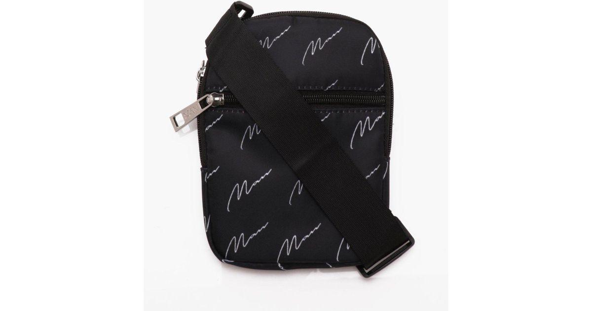 6e9795dd2140 Lyst - BoohooMAN Man Script All Over Print Cross Body Bag in Black for Men