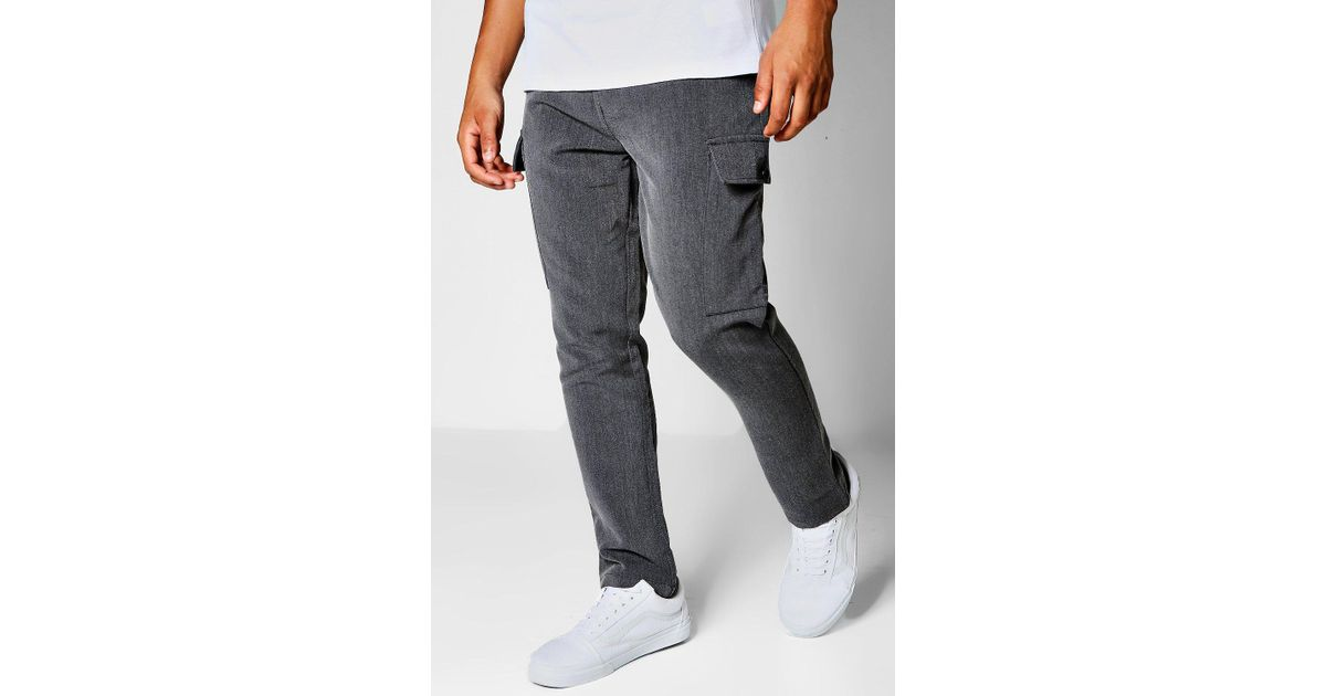 BOOHOOMAN TROUSERS WITH ANKLE CUFFS - Pantalón cargo - stone dMW9s