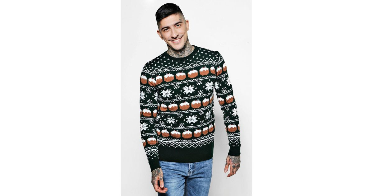 Boohoo Christmas Pudding Fairisle Jumper in Green for Men | Lyst