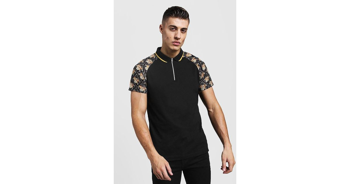 bd39d7d5a BoohooMAN Baroque Sleeve Print Polo With Zip Placket in Black for Men - Lyst