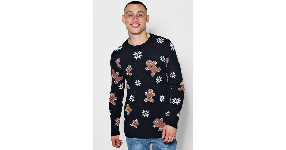 70847d345d56b Boohoo Gingerbread Man Christmas Jumper in Blue for Men - Lyst