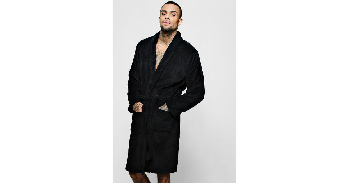 03384443ac Lyst - Boohooman Collared Fleece Robe With Pockets in Black for Men
