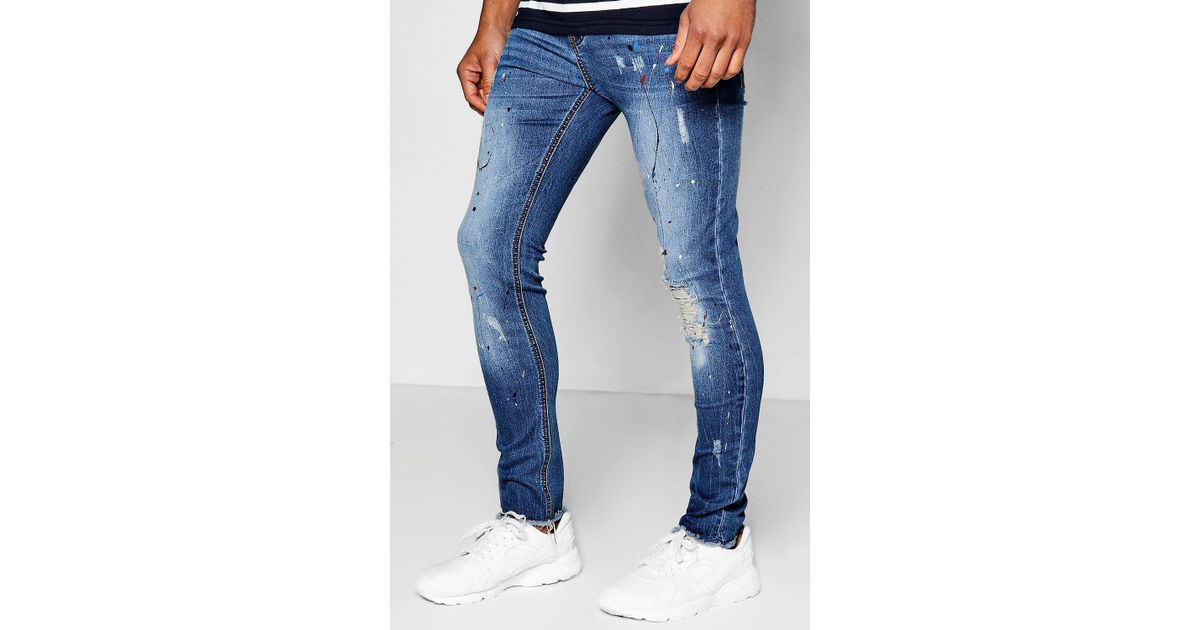 20df0beebe76 Lyst - Boohoo Mid Blue Super Skinny Jeans With Paint Splatter in Blue for  Men
