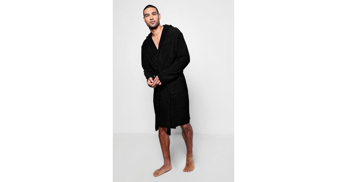 179a8cafad Lyst - Boohoo Black Hooded Dressing Gown In Towelling in Black for Men