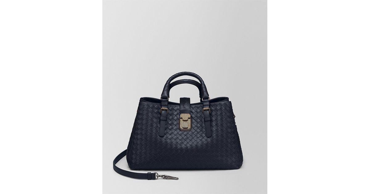 7ecb1add46be Lyst - Bottega Veneta Dark Cement Intrecciato Calf Roma Bag in Blue