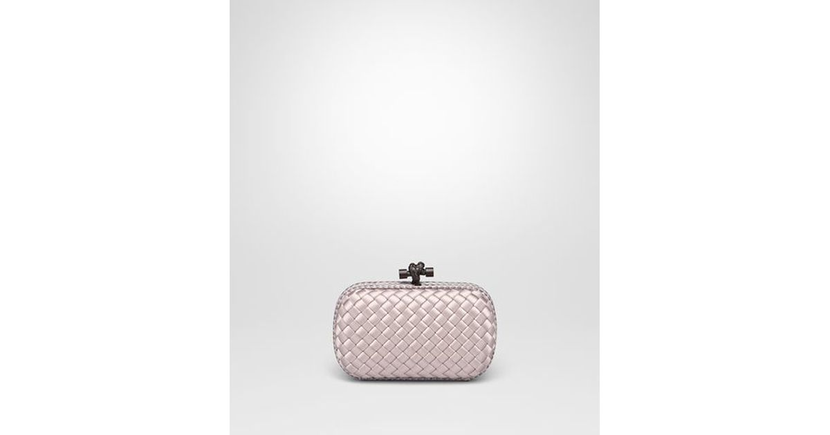 f40db29026e Bottega Veneta Knot Clutch In Rose Buvard Intreccio Impero With Ayers  Details in Pink - Lyst