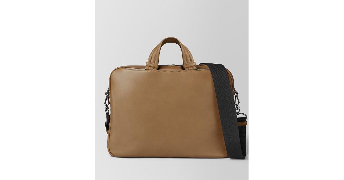 f5b9a0ae72b9 Bottega Veneta Camel Butter Calf Small Soft Briefcase for Men - Lyst