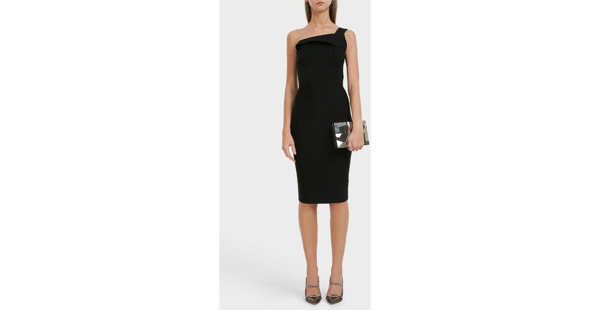 2a54033ab54 Roland Mouret Hepburn One-shoulder Stretch-knit Dress in Black - Lyst
