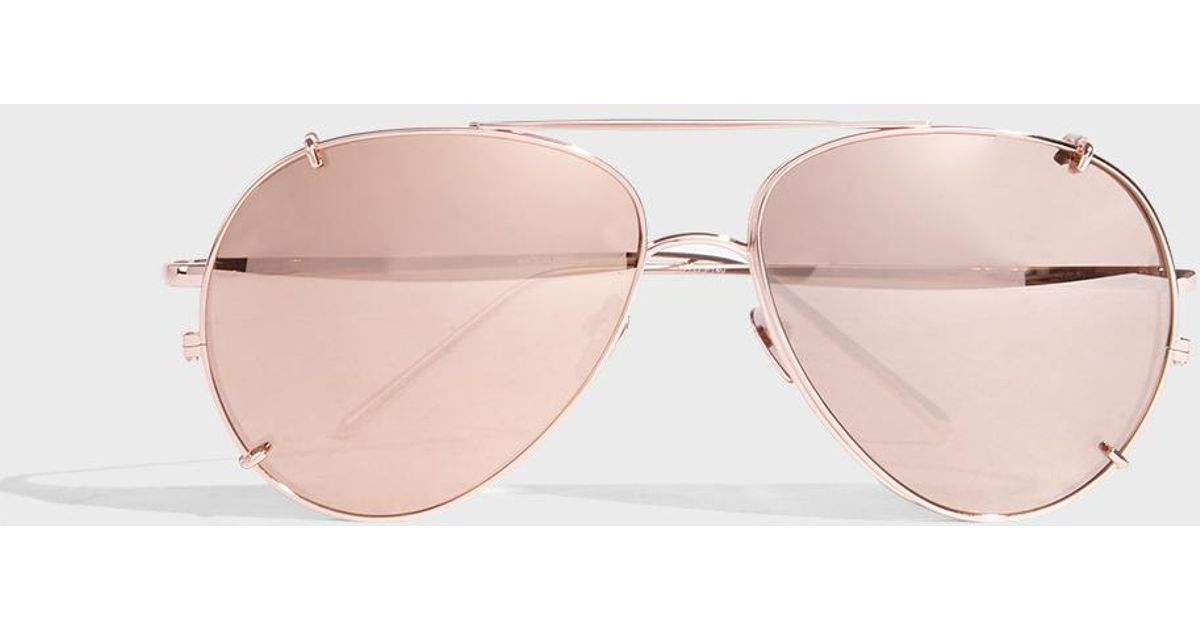 cacb07de149 Linda Farrow Aviator-style Rose Gold-tone Sunglasses in Pink - Lyst