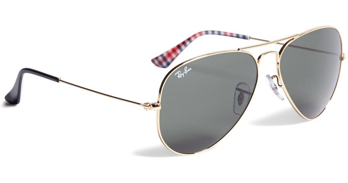 e763dc040b Lyst - Brooks Brothers Ray-ban® Aviator Sunglasses With Gingham in Metallic  for Men
