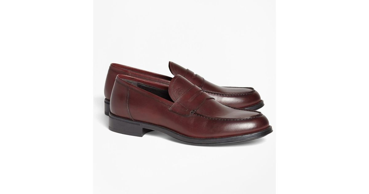 7ca0a73c4a3 Lyst - Brooks Brothers 1818 Footwear Rubber-sole Leather Penny Loafers for  Men