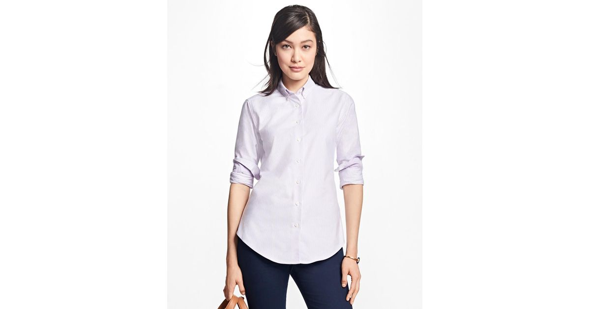 3ba8423d73b Lyst - Brooks Brothers Classic-fit Supima® Cotton Oxford Stripe Button-down  Shirt in Purple