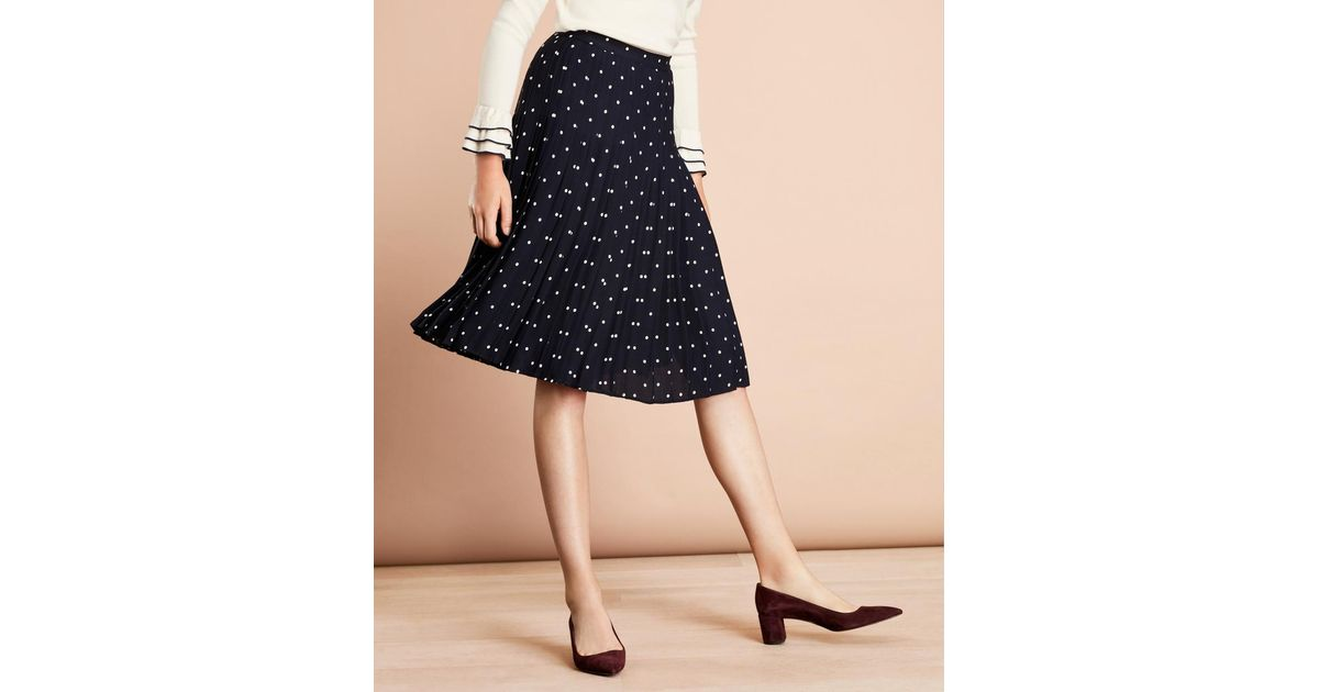 e1db4eb5b Lyst - Brooks Brothers Polka-dot Crepe Accordion-pleated Wrap Skirt in Blue