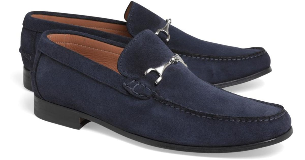 5f750329254 Lyst - Brooks Brothers Suede Buckle Loafers in Blue for Men