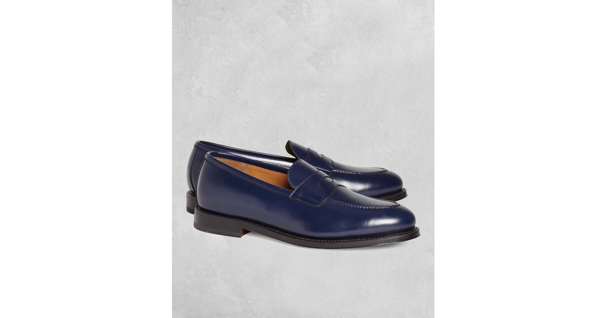418d5be9638 Lyst - Brooks Brothers Golden Fleece Penny Loafers in Blue for Men