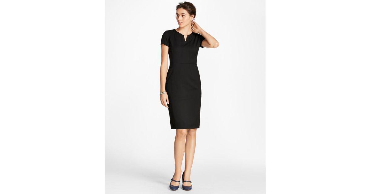 462451bc4d Brooks Brothers Wool Sheath Dress in Black - Lyst