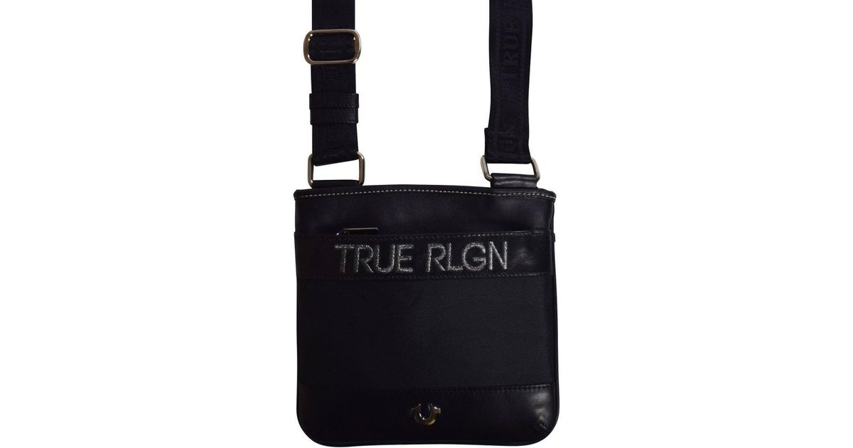 58bfd1a564 Lyst - True Religion Black Leather Cross Body Bag in Black for Men