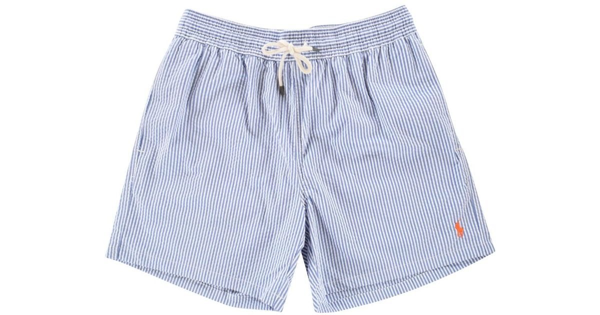 eb54fb2bef87a Polo Ralph Lauren Blue/white Stripe Swim Shorts in Blue for Men - Lyst