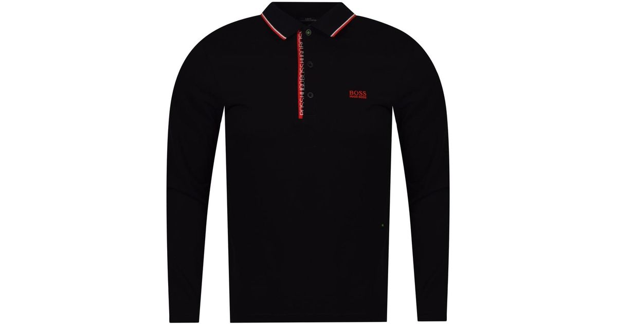 d860fa895fbe Lyst - BOSS Athleisure Black/red Trim Logo Long Sleeve Polo Shirt in Black  for Men