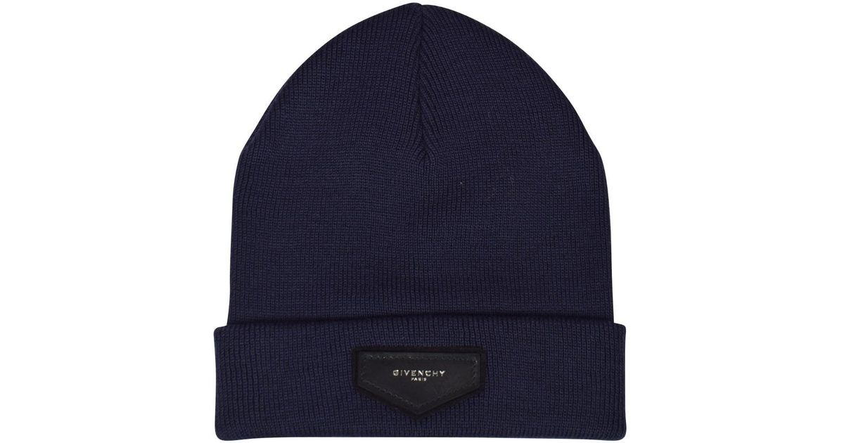 336f1fc504b ... official photos Givenchy Navy Plaque Logo Beanie Hat in Blue for Men -  Lyst b6a71 c1aef ...