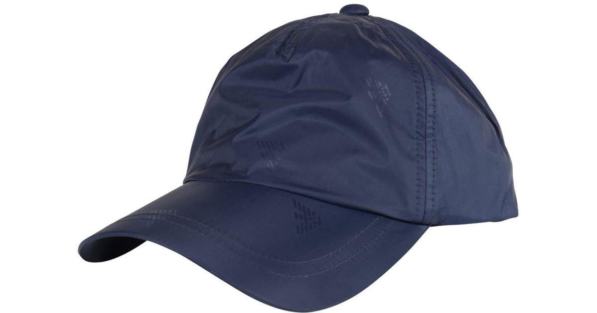 984d10a8 Emporio Armani Navy Nylon Eagle Print Cap in Blue for Men - Lyst
