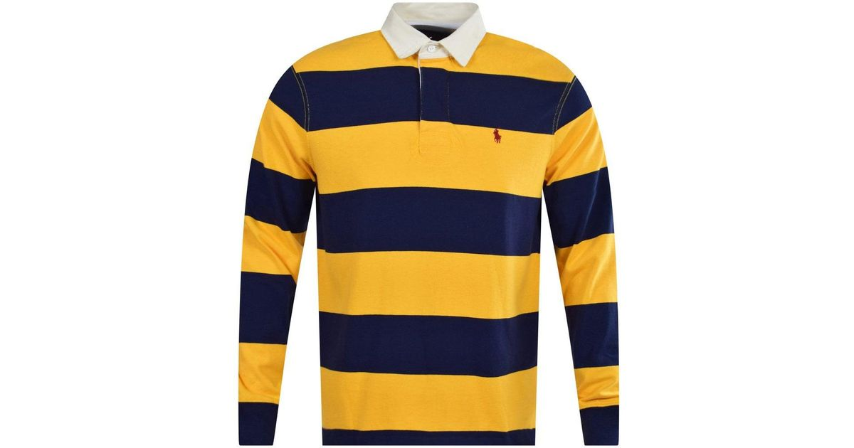 049d3c3deff Polo Ralph Lauren Blue/yellow Stripe Rugby Polo Shirt in Metallic for Men -  Lyst