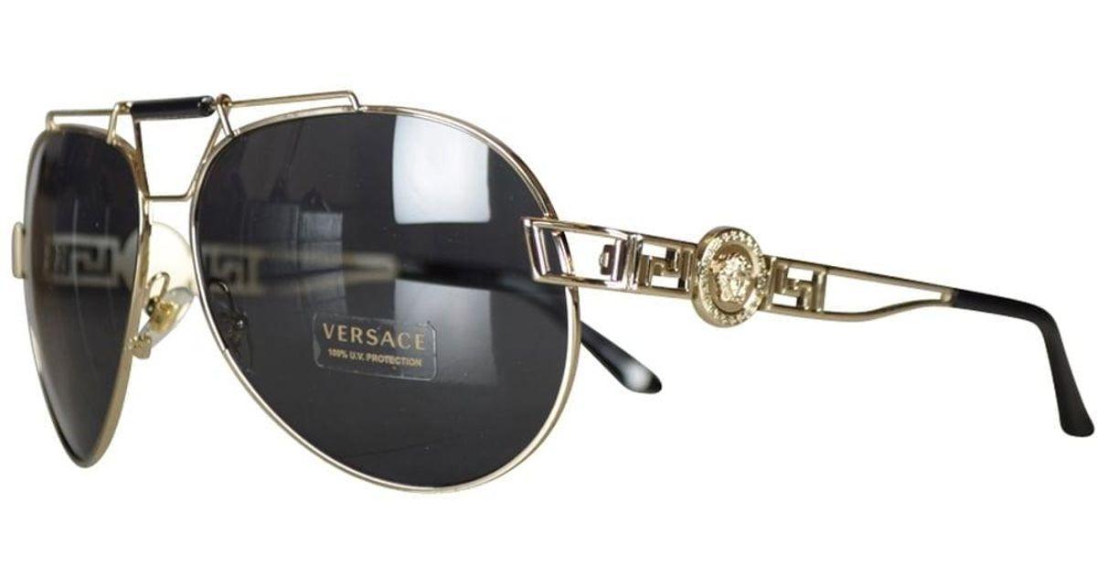 0b2592b01ba25 Lyst Versace Accessories Gold Medusa Aviator Sungles For Men. Versace  Sungles Barocania Black Gold Eyewear Avvenice. Versace Sungles Barocania  Black Gold