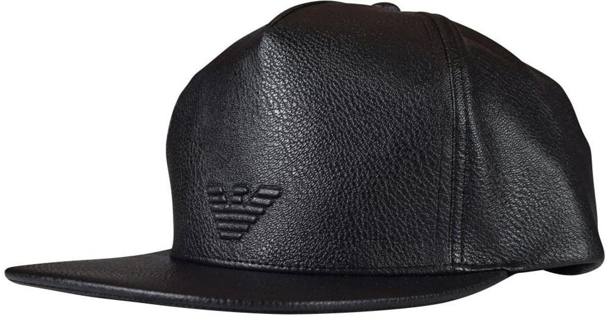 8177d0a7 Lyst - Emporio Armani Black Faux Leather Logo Strapback Cap in Black for Men