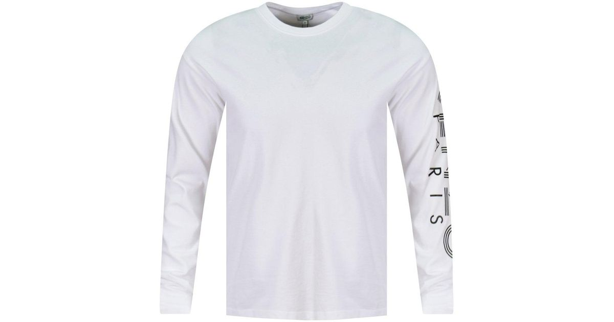 a25f874625e KENZO White Logo Long Sleeve T-shirt in White for Men - Lyst