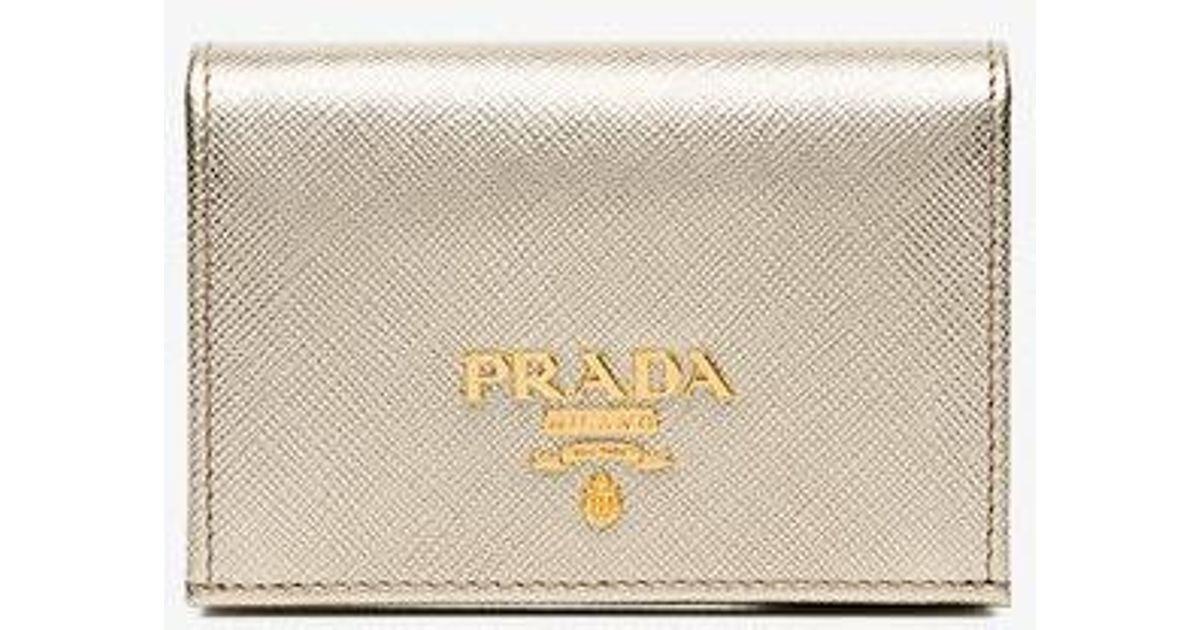37ffea5a3226ff ... new style lyst prada metallic gold logo saffiano leather wallet in  metallic 18061 9ddf7