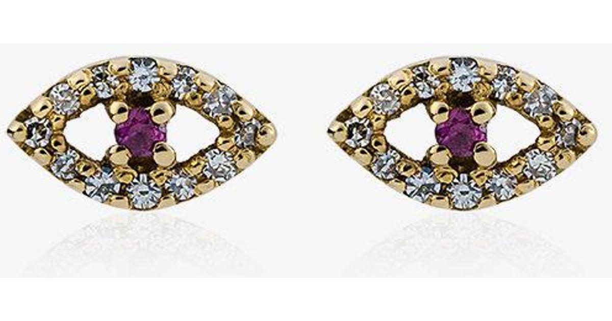 Diamond, ruby & rose-gold earring Ileana Makri